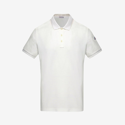 Moncler Polo Shirt with Printed Under-Collar - White