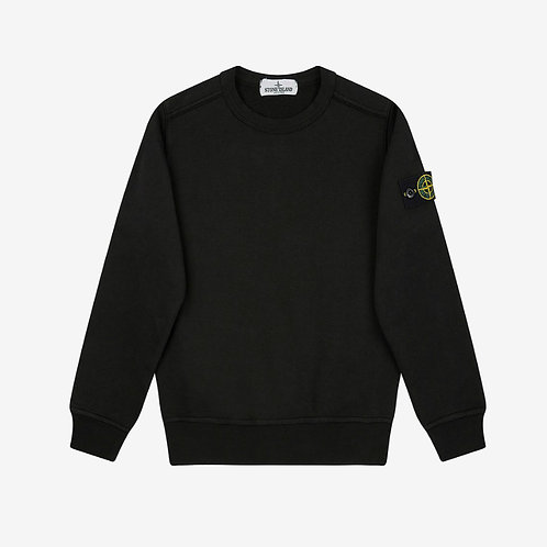 Stone Island Junior Garment Dyed Crew Sweatshirt - Black