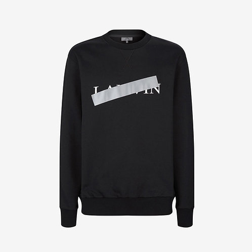 Lanvin Logo and Reflective Strip Print Sweatshirt - Black
