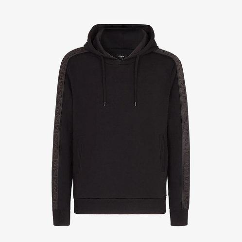 Fendi FF Motif Strip Hooded Sweatshirt - Black