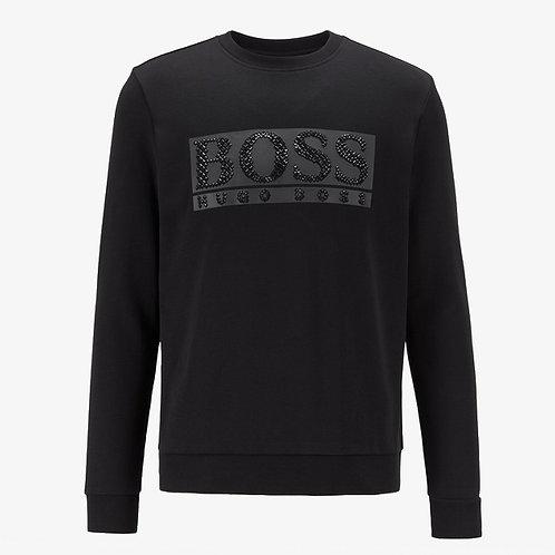 Boss Salbo Diamond 2 Sweatshirt with Rhinestone Logo - Black