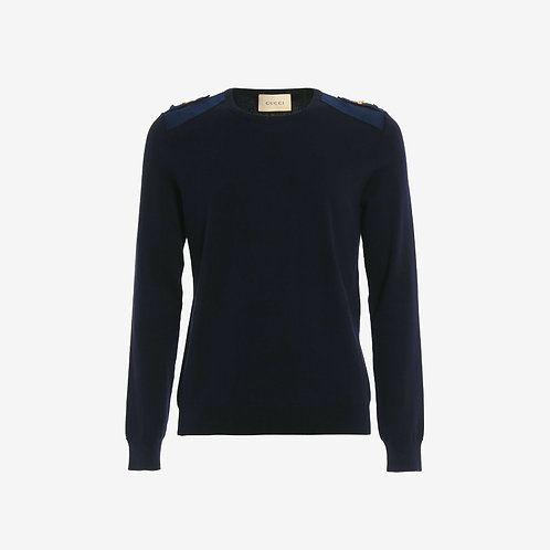 Gucci Jumper with Bee Shoulder Inserts - Navy