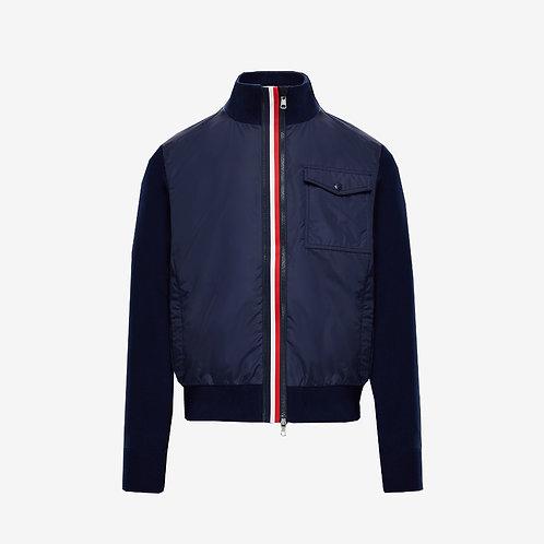 Moncler Pocket and Strip Cardigan - Navy