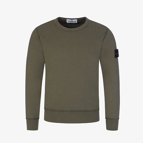 Stone Island Junior Garment Dyed Crew Sweatshirt - Khaki