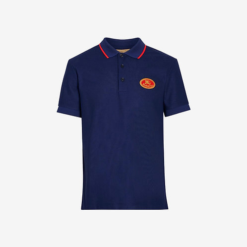 Burberry Archive Logo Cotton Piqué Polo Shirt - Dark Blue