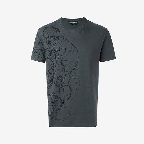 Alexander McQueen Skull Print T-Shirt Grey Front Cotton