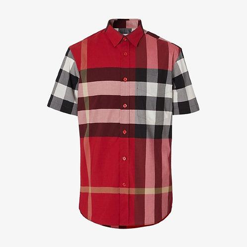 Burberry Short-Sleeve Check Stretch Poplin Shirt - Parade Red