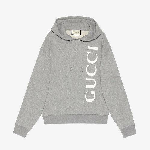 Gucci Logo Print Hooded Sweatshirt - Grey