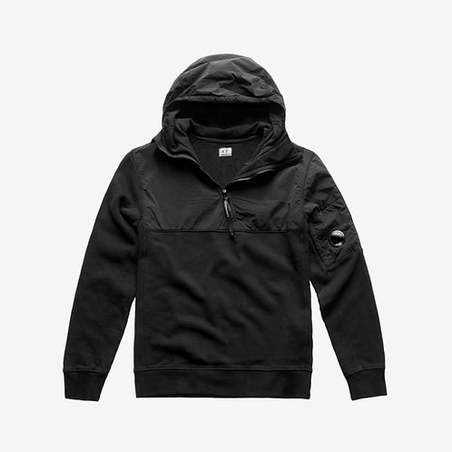 C.P. Company Fleece and Shell Lens Hooded Sweatshirt - Black