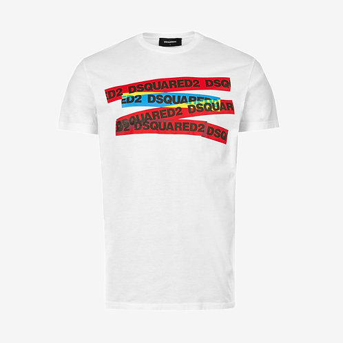 Dsquared2 Coloured Stripes T-Shirt - White