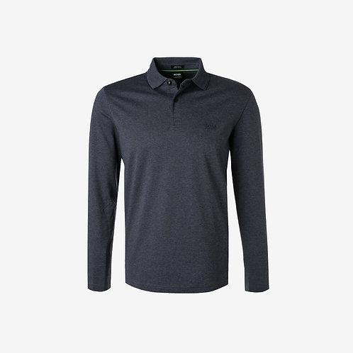 Boss Green Long Sleeve Polo - Pirol - Dark Blue/Grey
