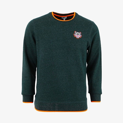 Kenzo Embroidered Tiger Sweatshirt with Orange Highlights- Pine Green