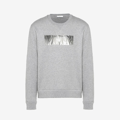 Valentino Laminated Embossed VLTN Crewneck Sweatshirt - Grey