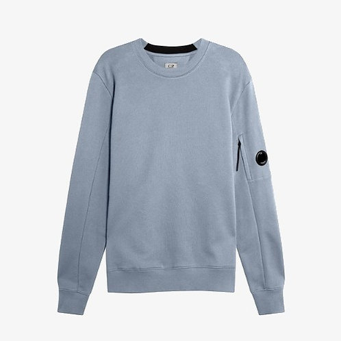 C.P. Company Diagonal Raised Fleece Lens Sweatshirt - Blue Fog