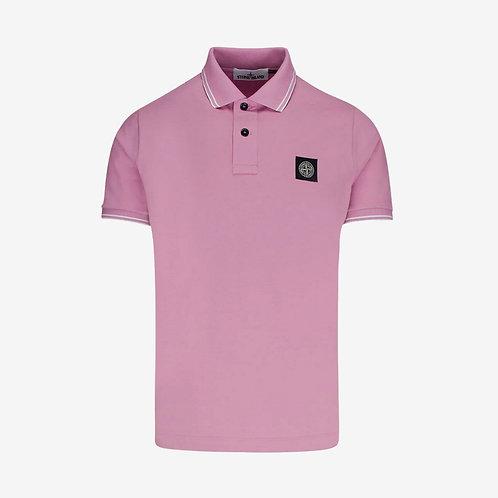 Stone Island Patch Logo Polo Shirt - Rose Quartz/Pink