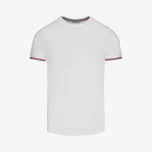 Moncler Slim Fit T-shirt with Contrast Sleeve - White