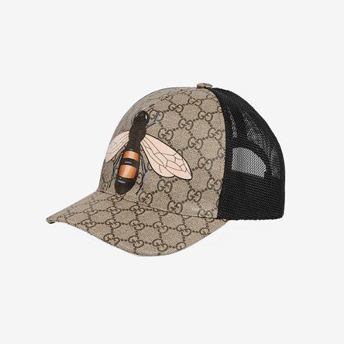 Gucci Bee Print GG Supreme Baseball Hat Beige