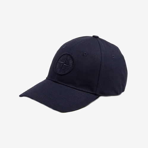 Stone Island Canvas Logo Cap Navy Embroidered