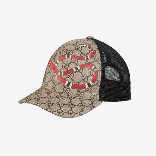 Gucci Kingsnake Print GG Supreme Baseball Hat Beige