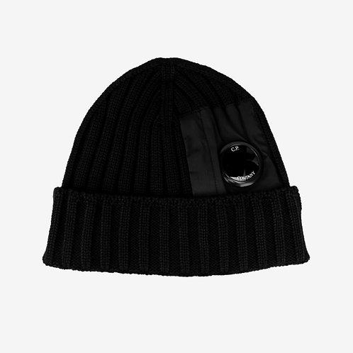 C.P. Company Pocket Lens Ribbed Beanie Hat Black