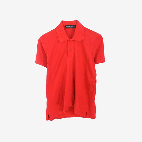Balenciaga Folded Polo Shirt Red Cotton Front
