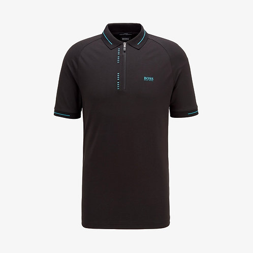 Boss 'Philix' S.Cafe Slim-Fit Polo Shirt with Pinstripe Panels - Black