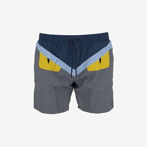Fendi Bugs Eyes Swim Shorts- Grey, Yellow and Blue