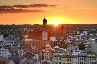 Pohled na Augsburg s bazilikou Sv. Ulricha a Afry. Foto Francesco Carovillano/DZT