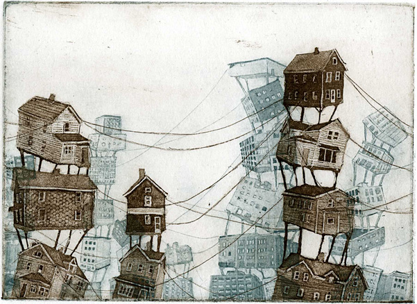 Distant Lands, 2 plate etching, 2011