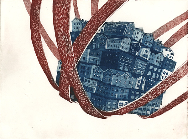 Cradled, etching, 2013