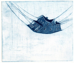 Blue house, etching, 2009