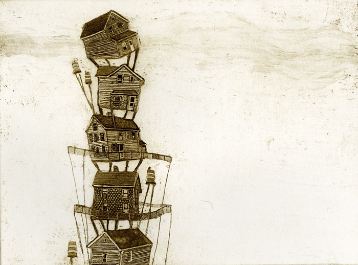 Watchtower, etching, 2010