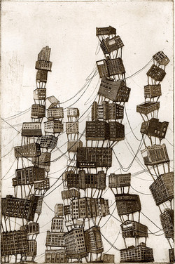 City standing tall, etching, 2011