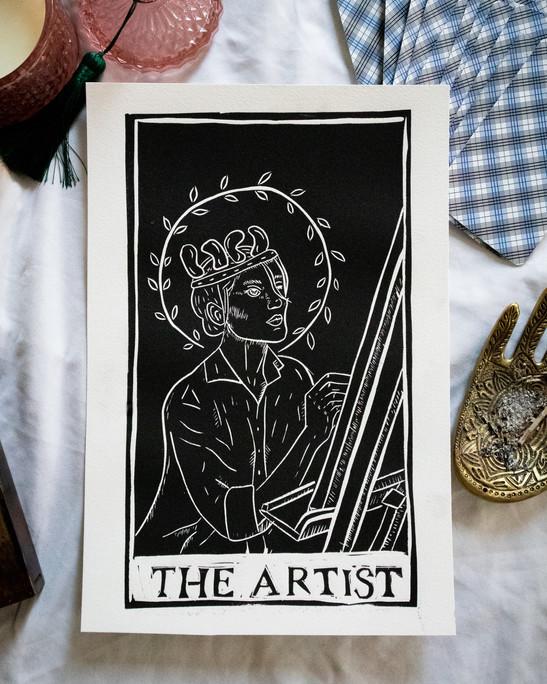 Image 3- The Queen of Swords, 6.5x11, Relief print, 2021