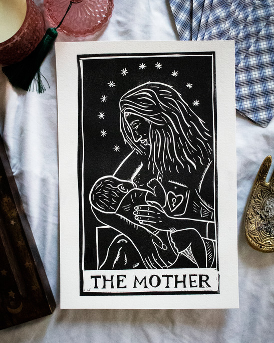 Image 4- The High Priestess, 6.5x11, Relief print, 2021