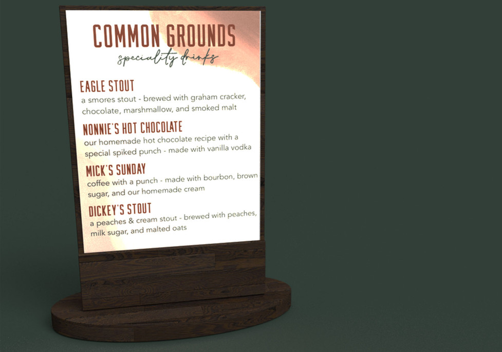 Common Grounds Specialty Menu, Adobe Creative Suite, 2021