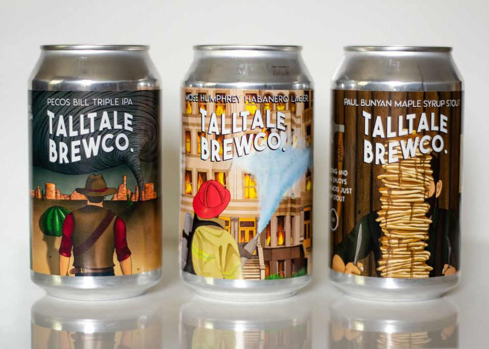 """Tall Tale Brewing Co. Illustrative Trio, Adobe Illustrator and Photoshop, 7.1 x 3.51""""  in 2020"""