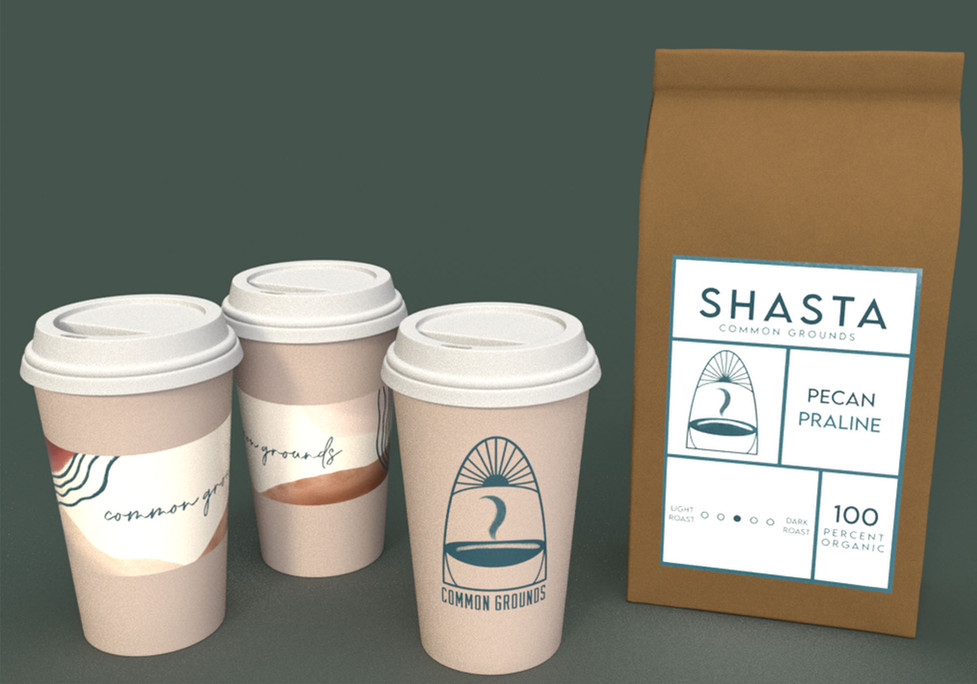 Common Grounds Cups & Shasta Coffee, Adobe Creative Suite, 2021