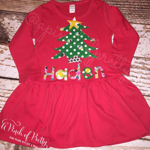 707df1d5f3b58 This hand drawn and sewn christmas tree applique adds a sweet element to  your child's Christmas attire! If you'd prefer another image in place of  the tree, ...