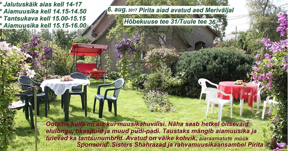 avatud aed Meriväljal - reklaam Tiiu ja Alari Sarvelt