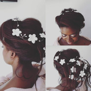 Bridal hair large bun with daisy vine