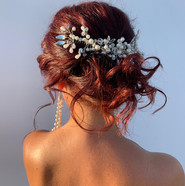 Loose textured bridal hair bun