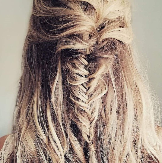 Bridal hair textured mermaid braid