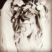 Bridal hair loose waves with flower crown