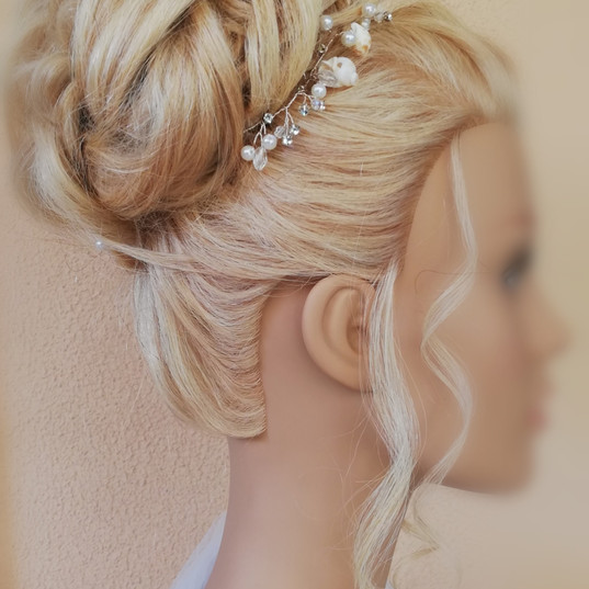 Bridal hair top bun