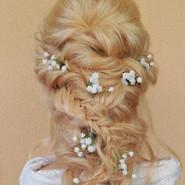 Bridal hair rope braid with flowers