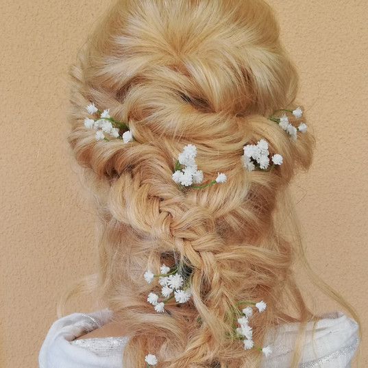 Bridal hair rope braid with flowers