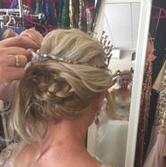 Bridal hair updo with tiara