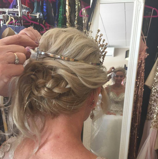 Bridal hair updo with tiara