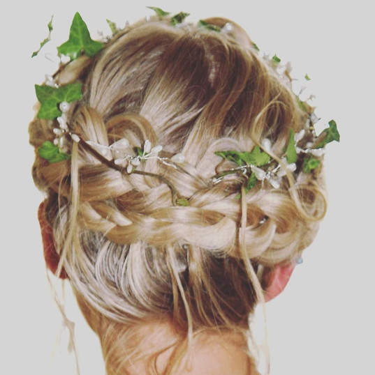 Bridal hair crown braid